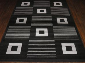 Modern Approx 8x5 160x230cm Woven Backed Black/Silver Top Quality Squares Rugs